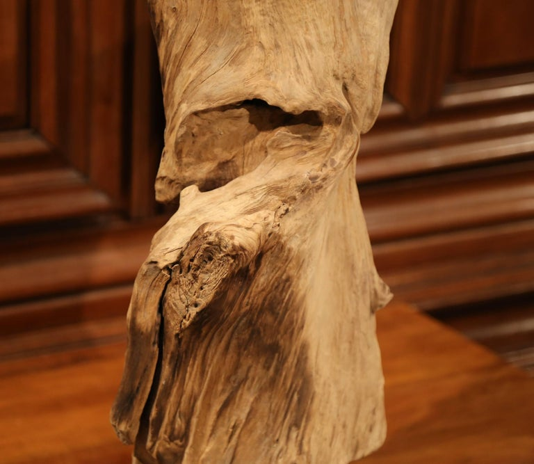 American Large Antique Driftwood Sculpture on Green Marble Base For Sale