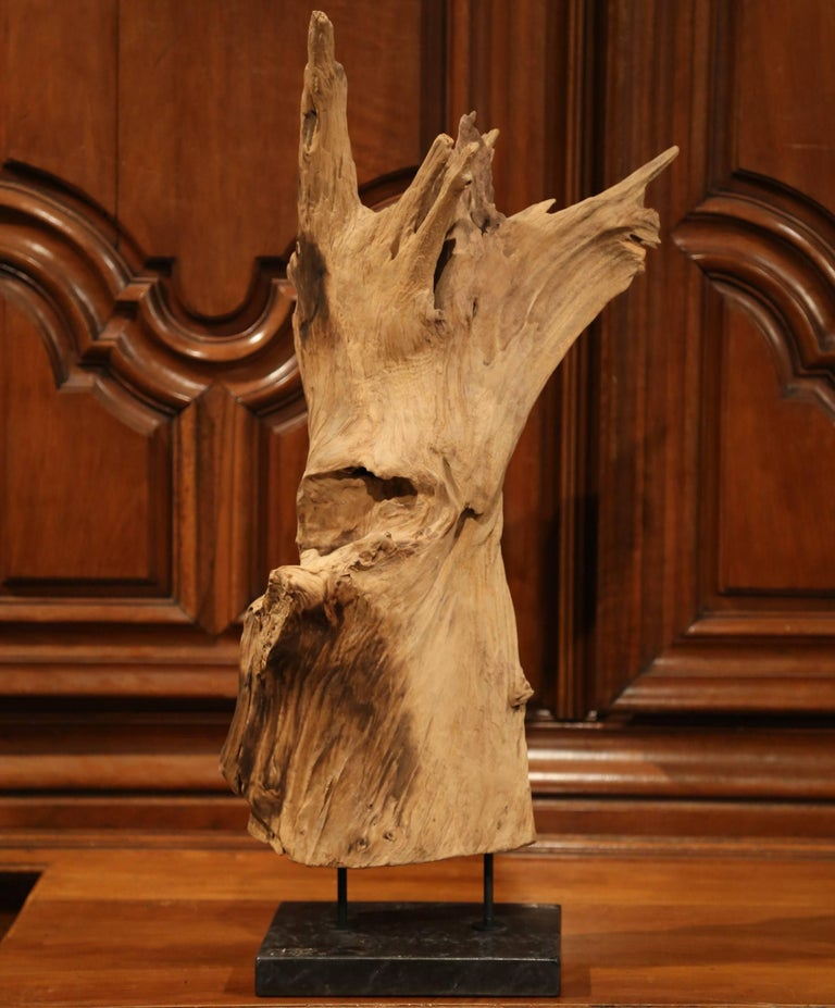 Hand-Crafted Large Antique Driftwood Sculpture on Green Marble Base For Sale