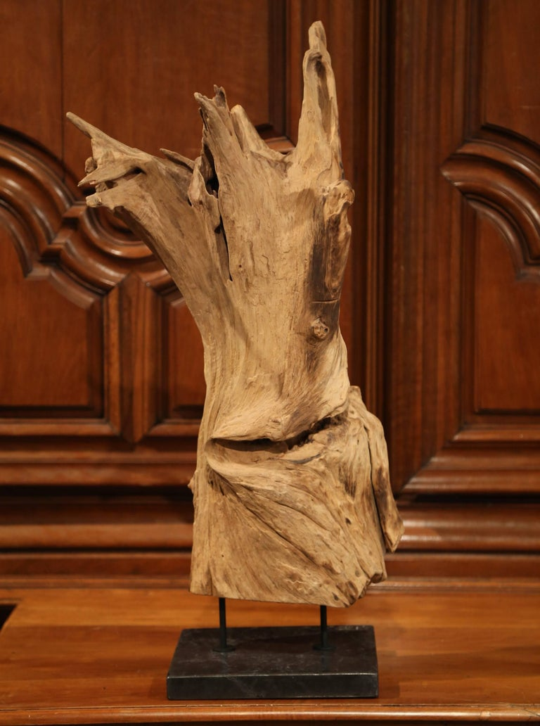 Large Antique Driftwood Sculpture on Green Marble Base In Excellent Condition For Sale In Dallas, TX