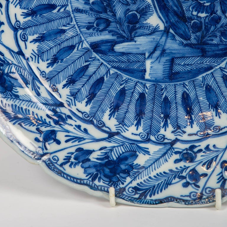 Chinoiserie Large Antique Dutch Delft Blue and White Charger Made circa 1770 For Sale