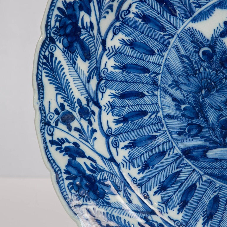 Hand-Painted Large Antique Dutch Delft Blue and White Charger Made circa 1770 For Sale
