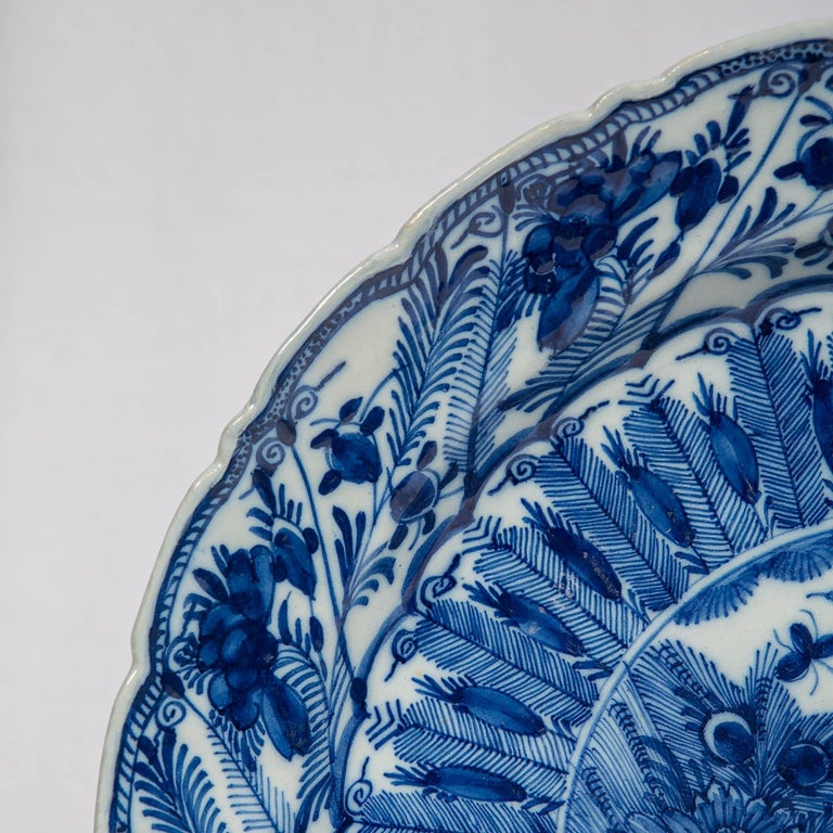 Large Antique Dutch Delft Blue and White Charger Made circa 1770 In Excellent Condition For Sale In New York, NY