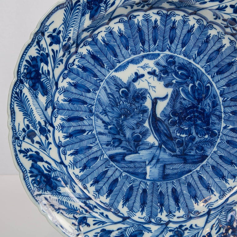 18th Century Large Antique Dutch Delft Blue and White Charger Made circa 1770 For Sale