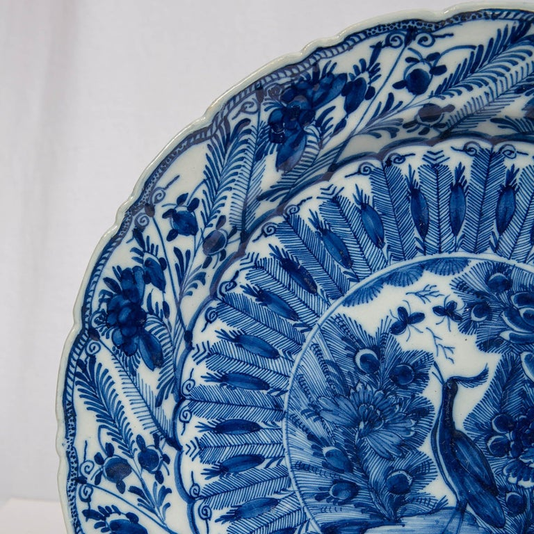 Large Antique Dutch Delft Blue and White Charger Made circa 1770 For Sale 1
