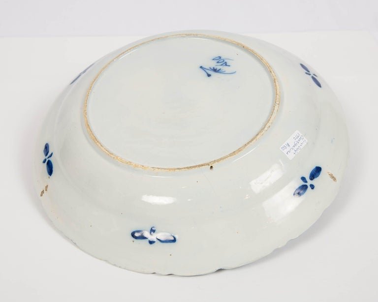 Large Antique Dutch Delft Blue and White Charger Made circa 1770 For Sale 2