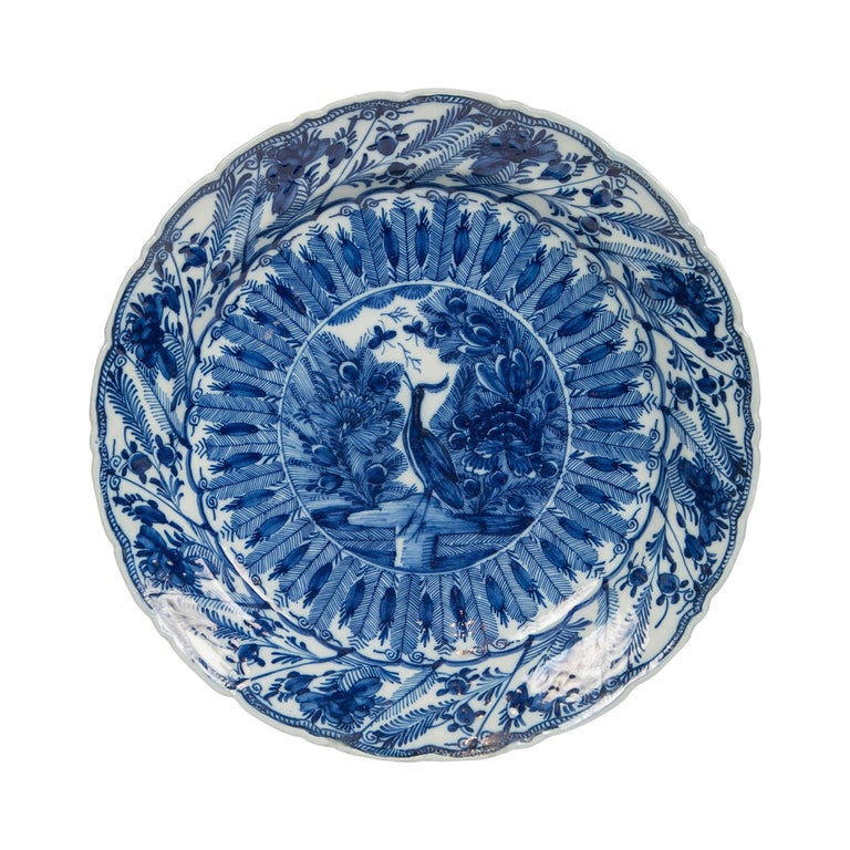 Large Antique Dutch Delft Blue and White Charger Made circa 1770 For Sale