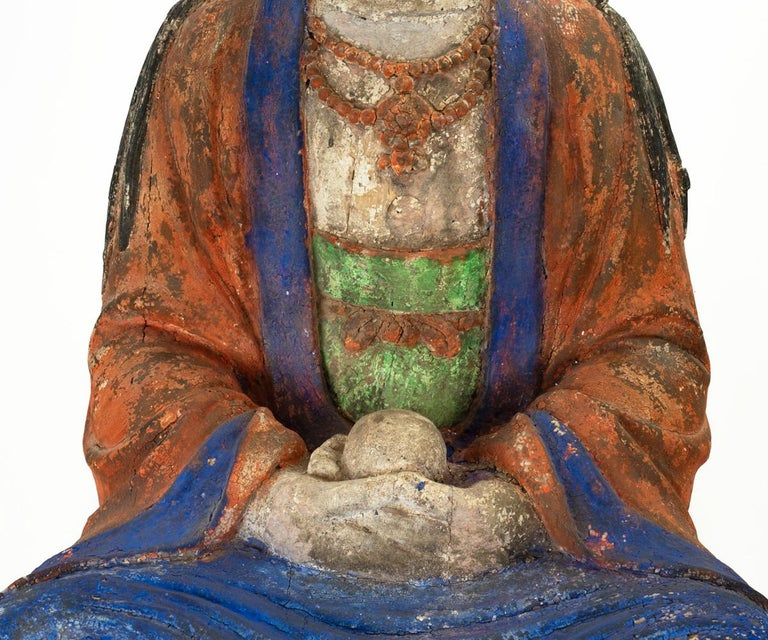 Hardwood Large Antique Early 20th Century 'or Earlier' Chinese Polychrome Guanyin For Sale