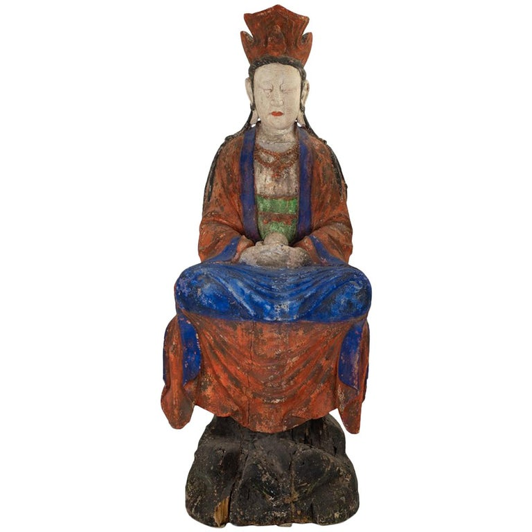 Large Antique Early 20th Century 'or Earlier' Chinese Polychrome Guanyin For Sale