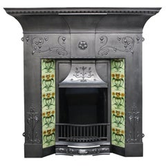 Large Antique Edwardian Art Nouveau Cast Iron Combination Fireplace