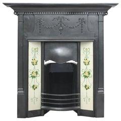 Large Antique Edwardian Cast Iron Combination Fireplace