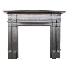Large Antique Edwardian Cast Iron Fireplace Surround