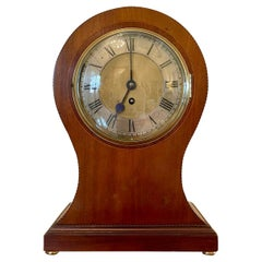 Large Antique Edwardian Inlaid Mahogany Balloon Shaped Mantel Clock