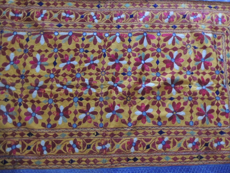 Moorish Large Antique Embroidered Panel with Floral Pattern For Sale