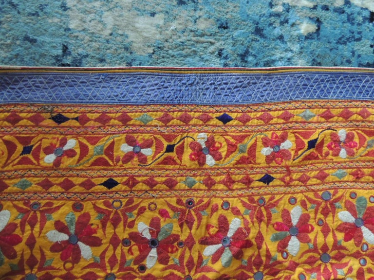 Indian Large Antique Embroidered Panel with Floral Pattern For Sale