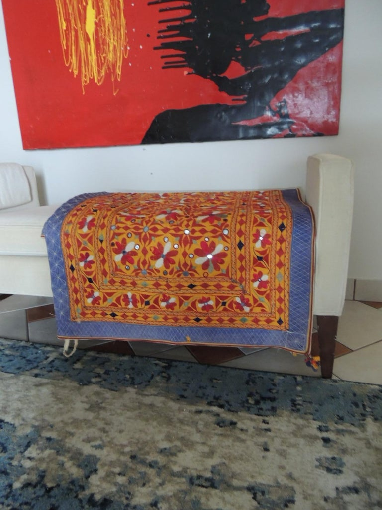 Large Antique Embroidered Panel with Floral Pattern In Good Condition For Sale In Wilton Manors, FL