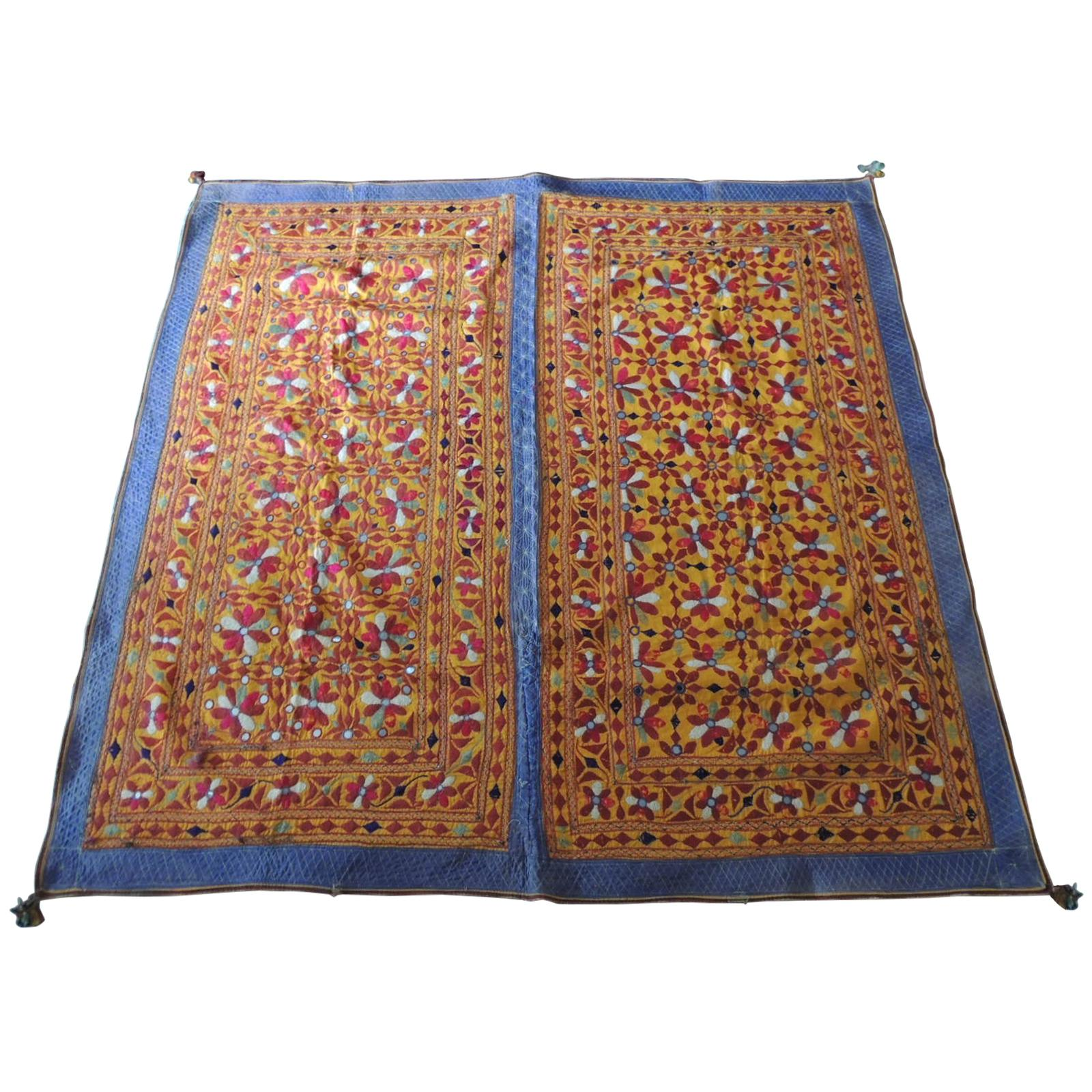 Large Antique Embroidered Panel with Floral Pattern