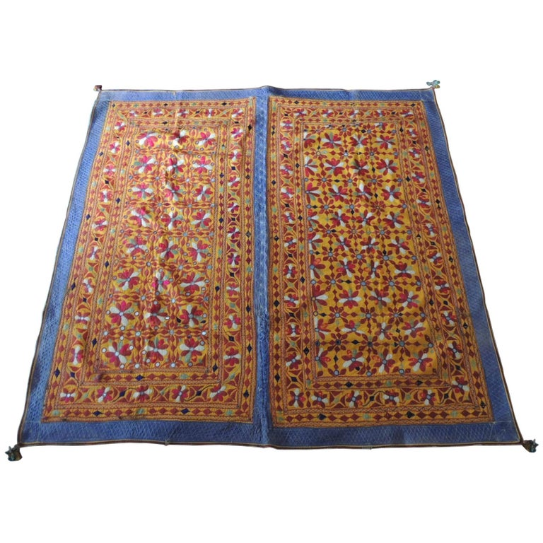 Large Antique Embroidered Panel with Floral Pattern For Sale