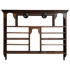 Large Antique English Carved Oak Plate Platter Wall Rack Kitchen Display Shelf