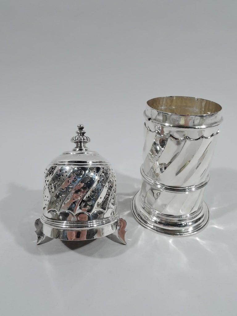 Neoclassical Revival Large Antique English Classical Britannia Silver Sugar Caster For Sale