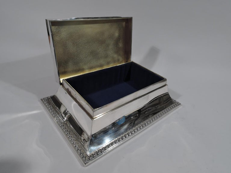 British Large Antique English Edwardian Classical Sterling Silver Jewelry Box For Sale