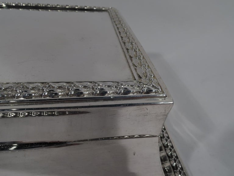 Early 20th Century Large Antique English Edwardian Classical Sterling Silver Jewelry Box For Sale