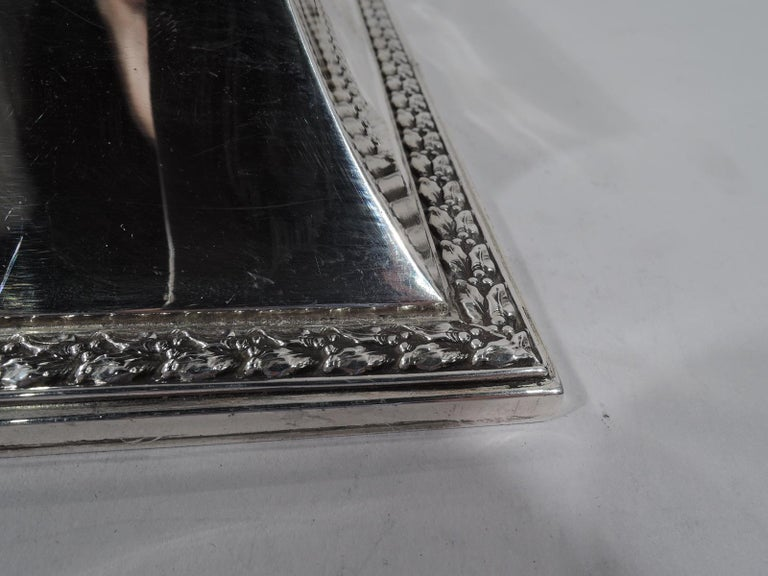 Large Antique English Edwardian Classical Sterling Silver Jewelry Box For Sale 1