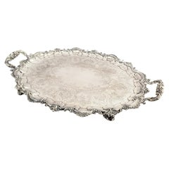 Large Antique English Footed Silver Plated Serving Tray with Floral Decoration