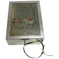 Large Antique English Hunting Scene Cigar Box / Humidor, Paris Retailer