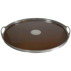 Large Antique English Mahogany and Sterling Silver Tray, 1883