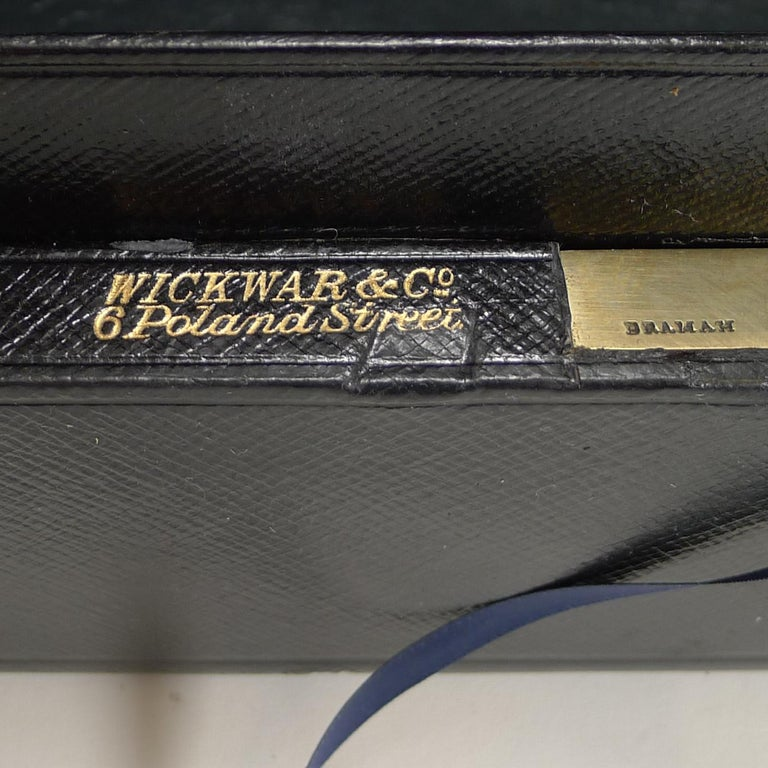 Large Antique English Morocco Leather Despatch / Dispatch Box by Wickwar, London For Sale 3