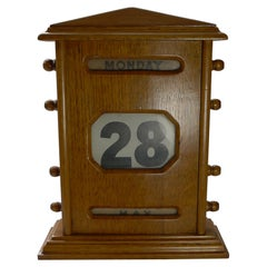 Large Antique English Oak Perpetual Desk Calendar, c.1920
