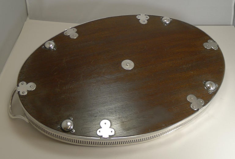 Edwardian Large Antique English Oak & Silver Plate Cocktail/Serving Tray by John Grinsel For Sale