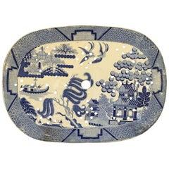 Large Antique English Platter Drainer Blue Willow Transferware Plateau #2
