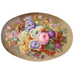 Large Antique English Porcelain Plaque of Fruit, Flowers & a Bird, 19th Century