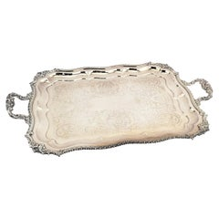 Large Antique English Rectangular Old Sheffield Silver Plated Serving Tray