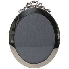 Large Antique English Silver Oval Photograph Frame by J C Vickery