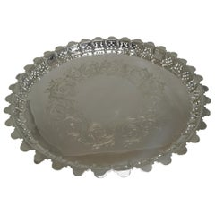 Large Antique English Silver Plated Circular Salver / Tray - 1855
