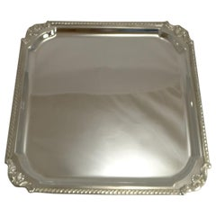 Large Antique English Silver Plated Cocktail Tray / Salver by Mappin & Webb