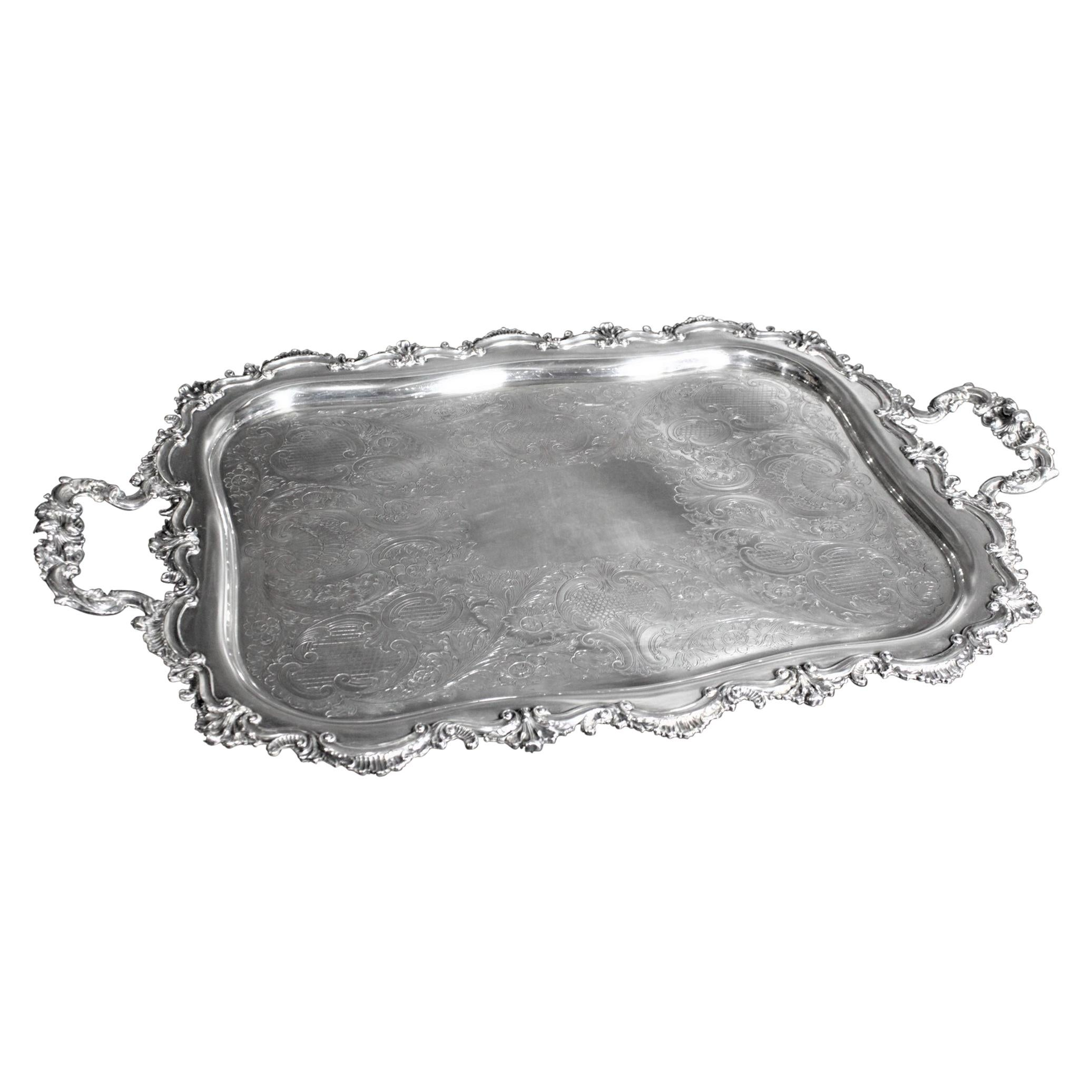 Large Antique English Silver Plated Serving Tray with Ornate Handles & Engraving