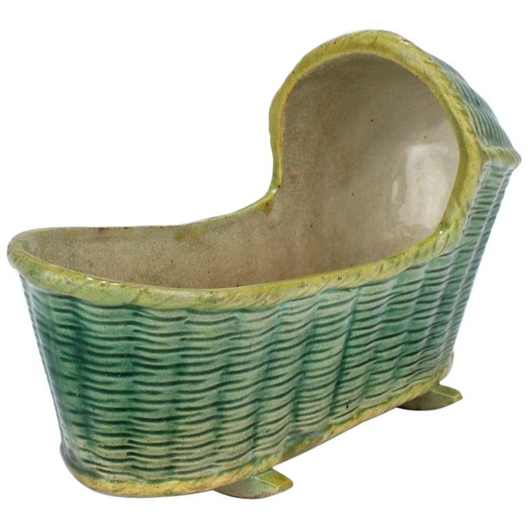 Large Antique English Staffordshire or Prattware Pottery Model of a Cradle For Sale