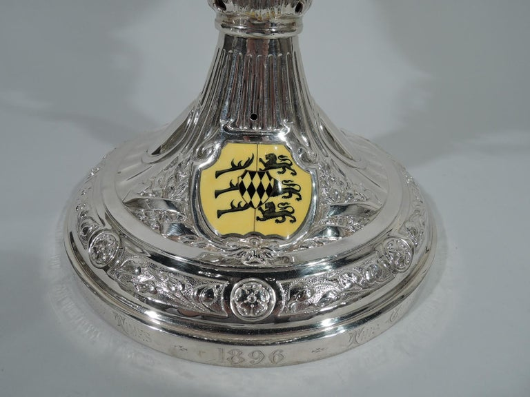 Large Antique English Sterling Silver Fox Hunting Trophy with Horse Finial For Sale 6