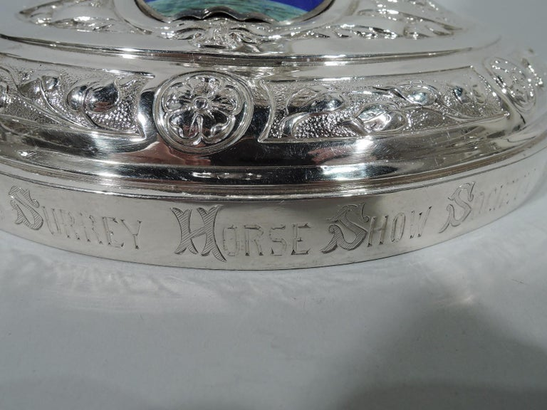 Large Antique English Sterling Silver Fox Hunting Trophy with Horse Finial For Sale 7