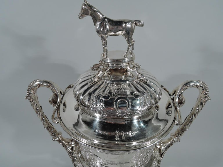 Victorian Large Antique English Sterling Silver Fox Hunting Trophy with Horse Finial For Sale