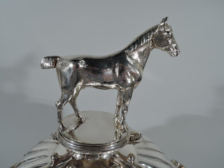 Late 19th Century Large Antique English Sterling Silver Fox Hunting Trophy with Horse Finial For Sale