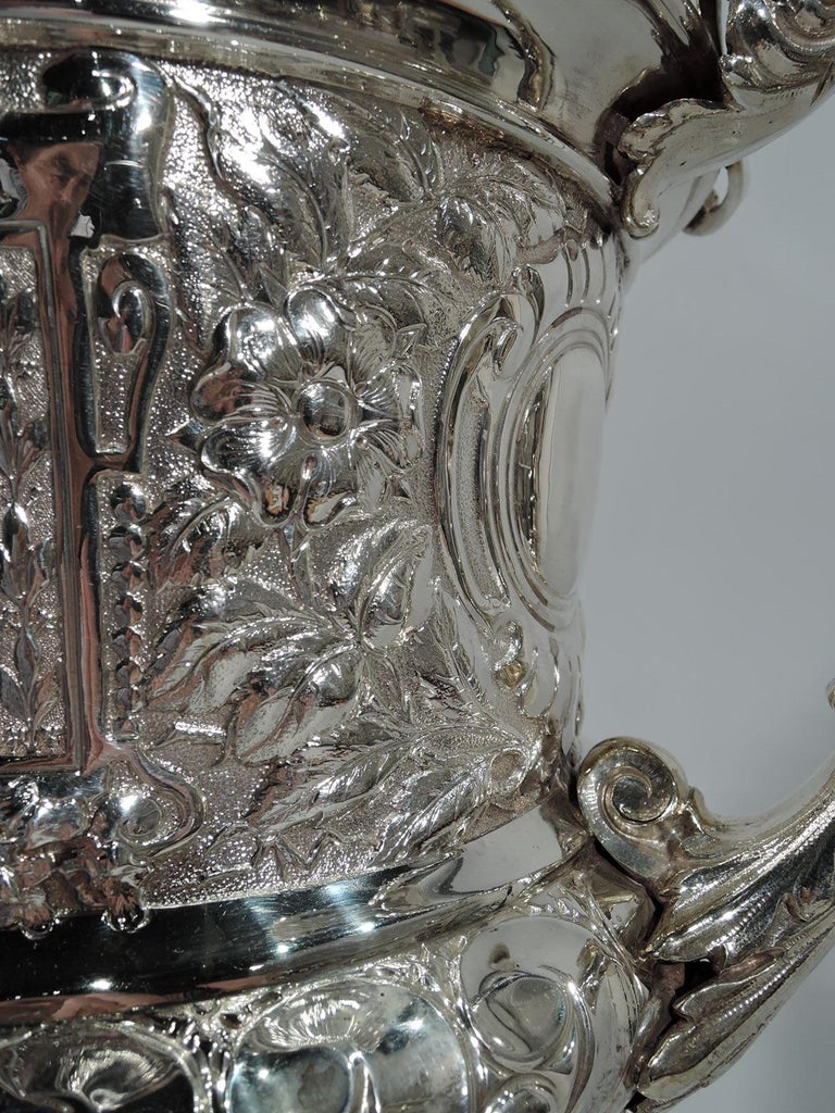 Large Antique English Sterling Silver Fox Hunting Trophy with Horse Finial For Sale 4