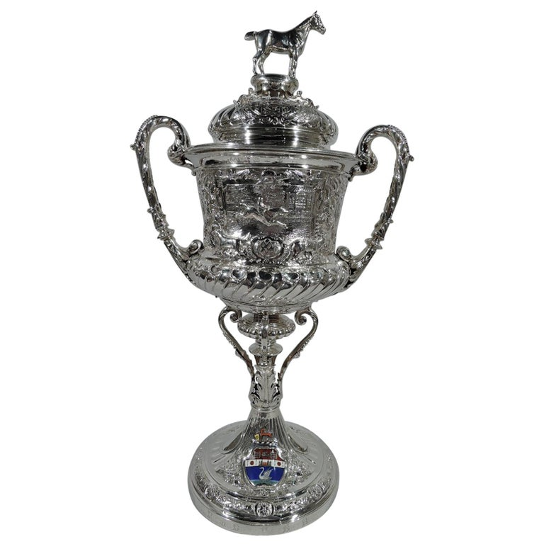 Large Antique English Sterling Silver Fox Hunting Trophy with Horse Finial For Sale