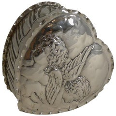 Large Antique English Sterling Silver Heart Box - Cherubs / Angels - 1898