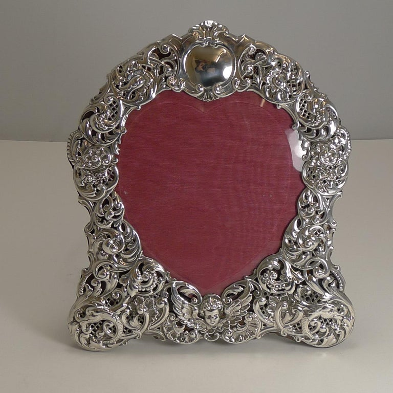 Large Antique English Sterling Silver Photograph/Picture Frame - Heart - 1898 For Sale 5