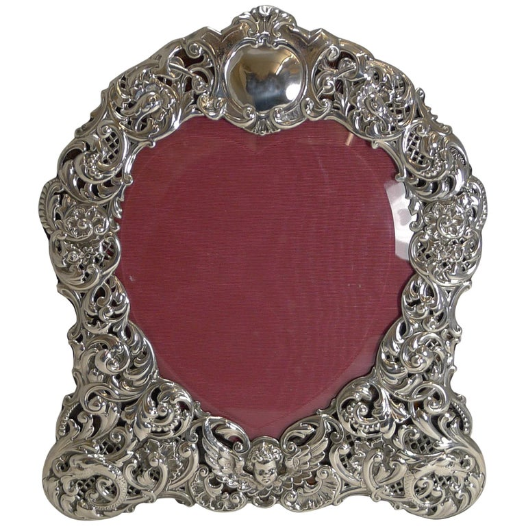 Large Antique English Sterling Silver Photograph/Picture Frame - Heart - 1898 For Sale