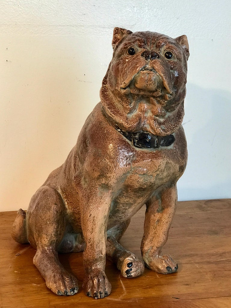 High Victorian Large Antique English Stoneware Figure of a Seated Pug For Sale